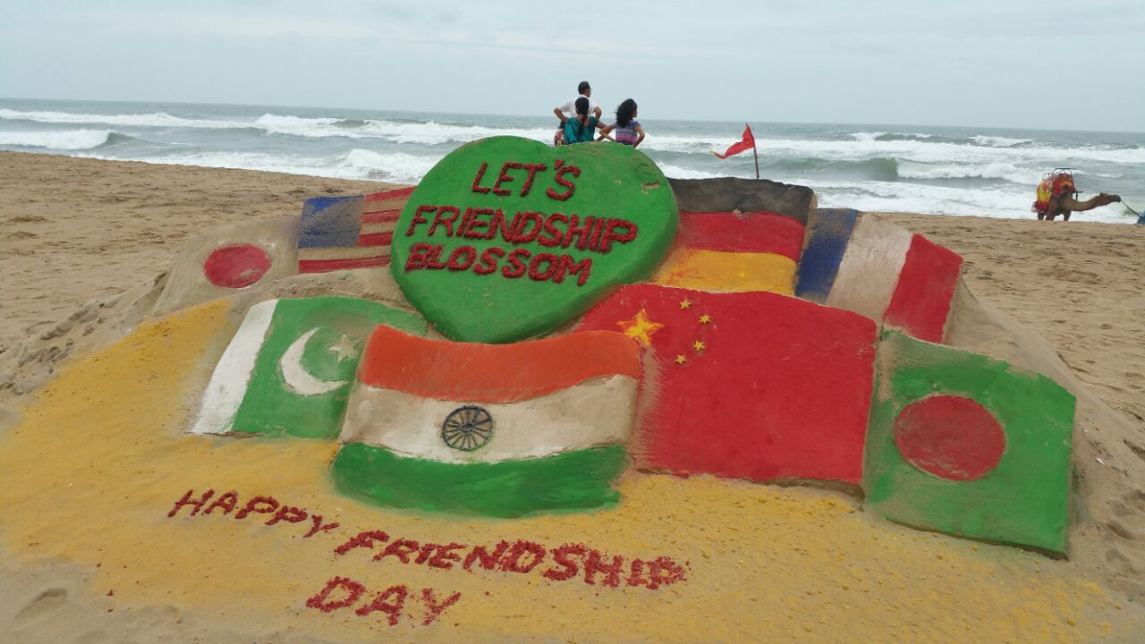 international friendship day -sand artist mansa sahu