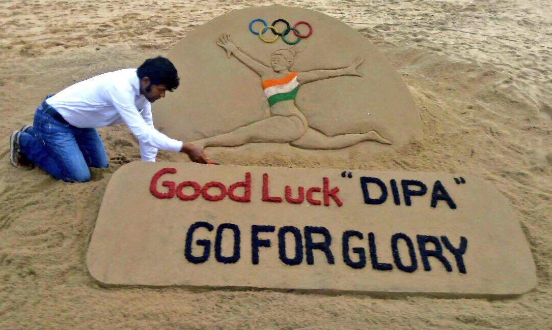 sand artist sudarshan patanaik give wish to dipa in sand art