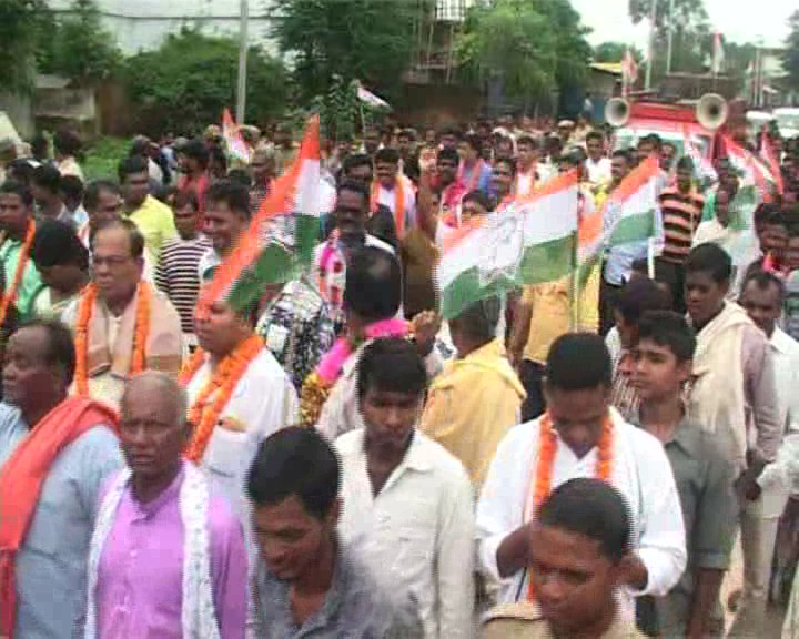 congress protest in kasipur