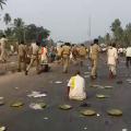 Police Baton Charge Farmers During Protest In Puri