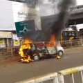 Car catches fire on road
