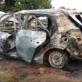 fire in car in jharsuguda. driver burnt