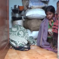 family staying in latrine
