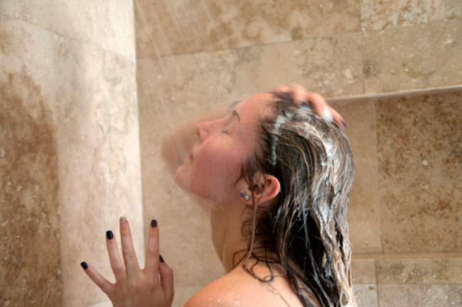 bathing in hot water