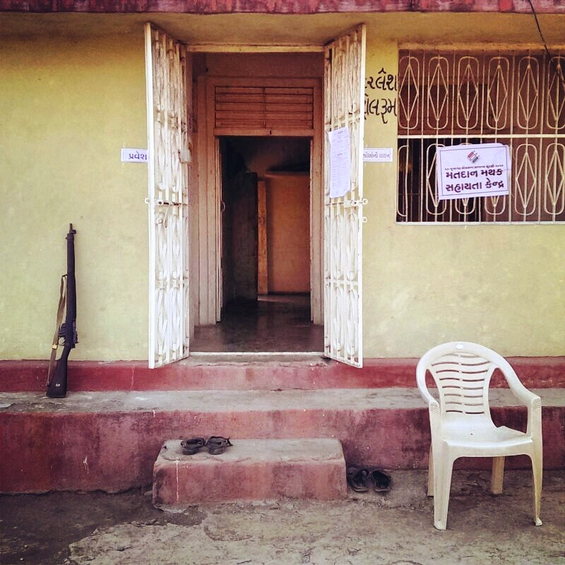 polling booth in jungle