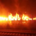 train catches fire