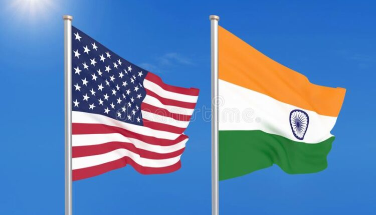 united-states-america-vs-india-thick-colored-silky-flags-d-illustration-sky-background-147635489