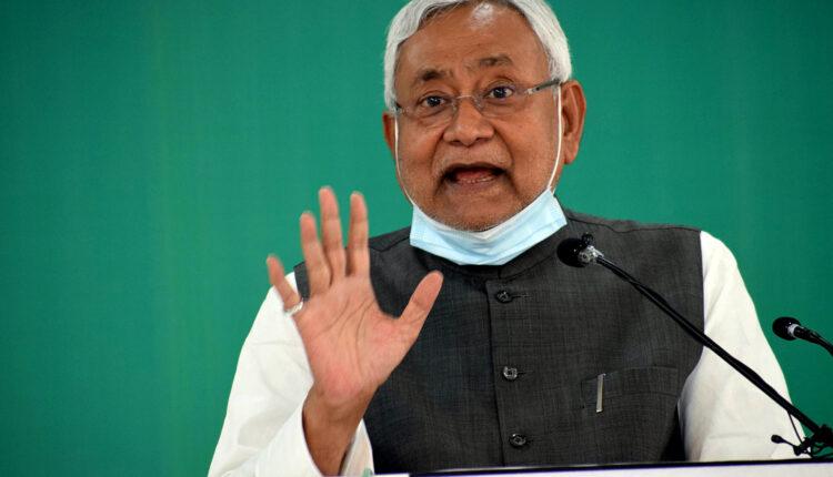 Bihar Chief Minister Nitish Kumar addresses a virtual rally at the JD-U office